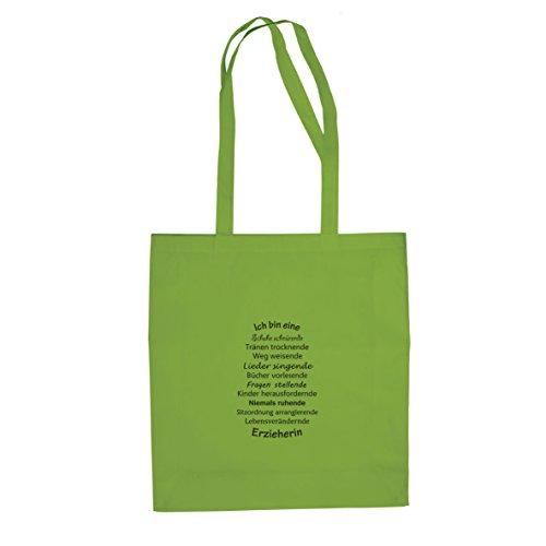 Ich bin eine Erzieherin - Stofftasche / Beutel Hellgrün