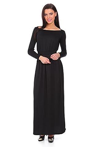 Futuro Fashion Elegant Manches Longues Superbe robe Maxi avec Séparée Ceinture Longue Col Bateau Subtil Style Ouvert Encolure Taille 8-14 UK 8193 - Noir, EU 38 (M)