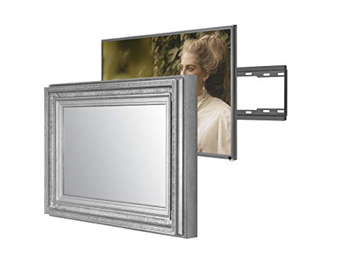 Handmade Framed Mirror TV with Samsung to Blend This Hidden Mirrored Television into Your Home or Business Decor (43 Inch, Regency Silver)