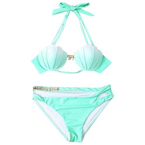 Qiusa Sommer, Vintage Frauen Zweiteilige Strand Shell Shpae Push-up-BH Halfter Bandeau Krawatte Seite Gradual Farbverlauf Farbwechsel Bikini Badeanzug Strandbadebekleidung (Farbe : Grün, Größe : L) - Halfter-krawatte-seite Bikini