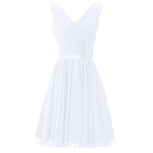 Find Dress Sexy Col en V Robe de Soirée/Cocktail/Cérémonie Robe Demoiselle d'Honneur Lacet en Mousseline avec Fleur Ceinture Blanc