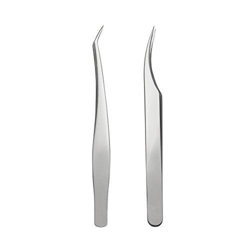 SelfTek 2 pièces Brucelles à cils pour extensions de cils Brucelles incurvées et à bouts croisés en acier inoxydable Brucelles à faux cils