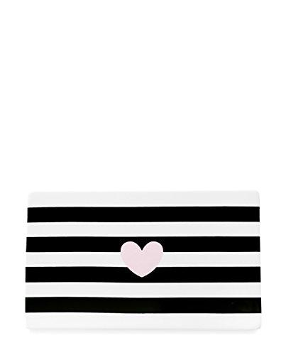 Miss Etoile Board Ceramics Heart Rose w/Black Stripe 15x25cm -