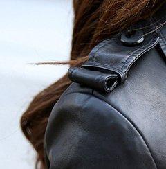 Helan Femmes Longue de moto en cuir PU Sport Veste Manteau de cuir Noir