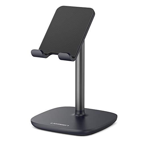 UGREEN Handy Ständer Tisch Handy Halterung verstellbar Handy Halter Smartphone Ständer kompatibel mit iPhone 11 Pro X 8 Plus, Samsung M30s M20 S10, Huawei P30 Pro P20 Pro, iPad Mini 2 3 4 usw. Schwarz