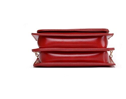 LAIDAYE Freizeit-Kette Tasche Einfach Wilde Retro Kleine Quadratische Tasche Messenger Umhängetasche Brown