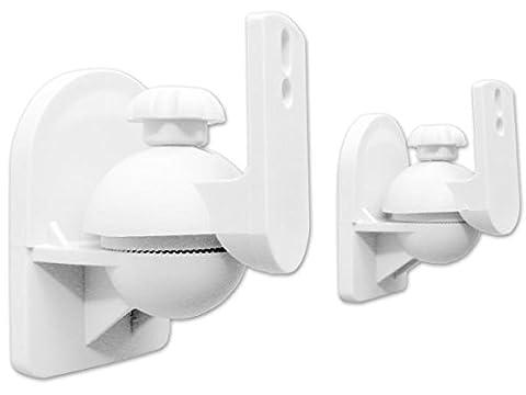 2 Stück (1 Paar) Universal Lautsprecherhalterung Wandhalterung Boxen Lautsprecher (passt für z.B. Teufel, Bose, Yamaha, Bosten) Befestigung Halter weiß Modell: (Pro Pa Lautsprecher)