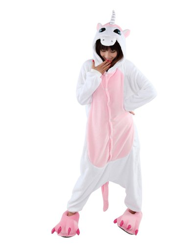 Rosa Einhorn Pyjama Schlafanzug mit Kapuze Erwachsene Unisex Fleece-Overall Kostum Gr. S