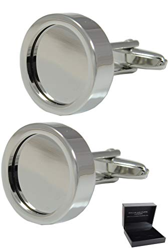 COLLAR AND CUFFS LONDON - Hochwertige Manschettenknöpfe mit Geschenk Box - Kundengerechten Fotorahmen - Stilvolle Messing - Sie Ihr Eigenes Foto Hinzufügen - Runde - Silber Farbe