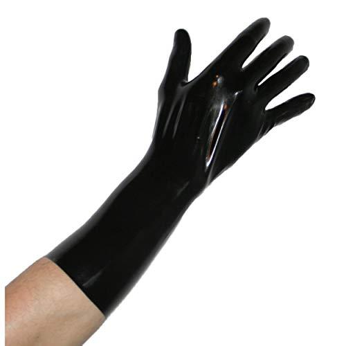 Rubberfashion kurze Latex Handschuhe, Latexhandschuhe bis übers Handgelenk nicht chloriert für Frauen und Herren Menge: 1 Paar schwarz L