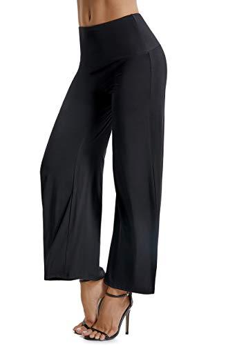 FITTOO Pantaloni Yoga da Donna Larghi Largo Pantaloni a Zampa d\'elefante Vita Alta, Nero, XL