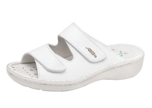 Abeba Femme Chaussures de travail Chaussures 6809professionnelle en cuir blanc antistatique antidérapant CE en ISO 20347: 2012Si A, E Srb Blanc