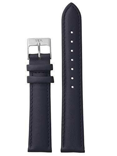 laVIIDA Uhrband LB-SVI2015S Ersatzband Uhrenarmband Leder 18 mm Dunkelblau-Silber