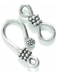 Shipwreck Beads Pewter Hook And Eye Clasp, Metallic, Silver, 38mm, Set Of 3