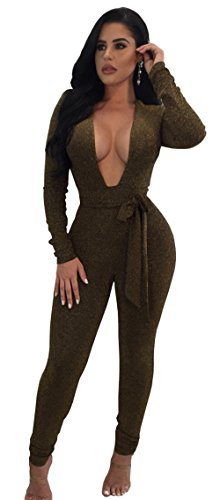 parkly V-Ausschnitt Langarm Party Clubwear Bandage Strampler Overall Armeegrün-S (Frauen Halloween Outfit)