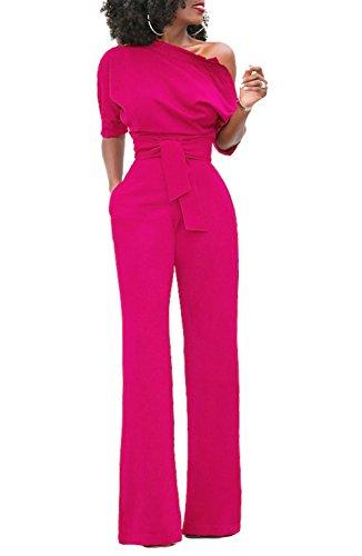 KISSMODA Frauen Sexy One-Shoulder-feste Overalls Breites Bein Lange Strampler Hose mit Gürtel Rose Rot