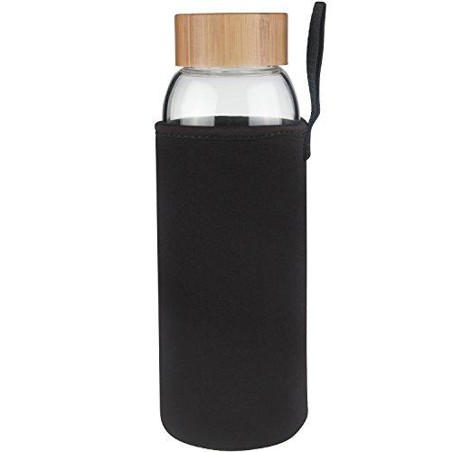 Ferexer 1 Litre Trinkflasche Glas Wasserflasche mit Bambus Deckel 1000 ml (schwarz)