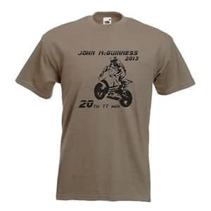 Hairy Hedgehog AJohn McGuinness 2013 20th TT Win Tribute T-Shirt, Isle Of Man, Road Racing , Color : Yellow With Black Image , Size : Large