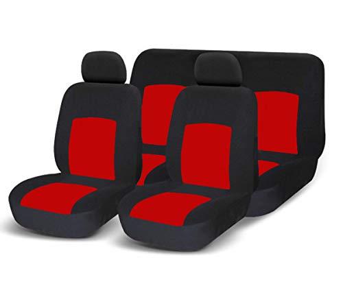 RebecaShop COPRISEDILI UNIVERSALI per Auto Kit Anteriore E Posteriore Rosso/Nero Soft