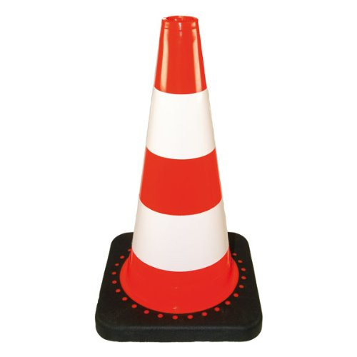 Verkehrs-Leitkegel Standard, rot mit 2 weißen Streifen, 50 cm hoch, 2,5 kg