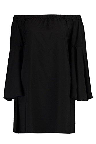 Damen Schwarz Frey Schulterfreies Kleid Mit Extrem Ausgestellten Ärmeln Schwarz