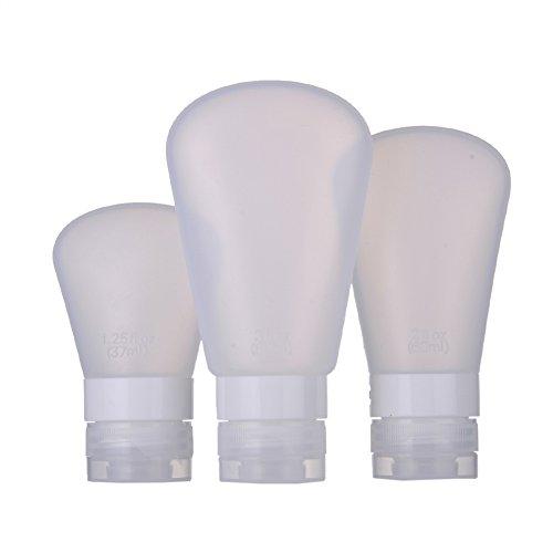 3 Pièce blanc Portable Silicone Bouteilles Vides de Voyage pour Liquides Savon et Maquillage - 37ml+60ml+89ml