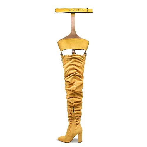 schenkel hoch Hacke Fetisch Gehen aus Schnüren Stretch Kunstleder Wildleder Overknee Stiefel Blockabsatz Shoes Größe EU 34-42,Yellow,EU41/UK7.5 ()