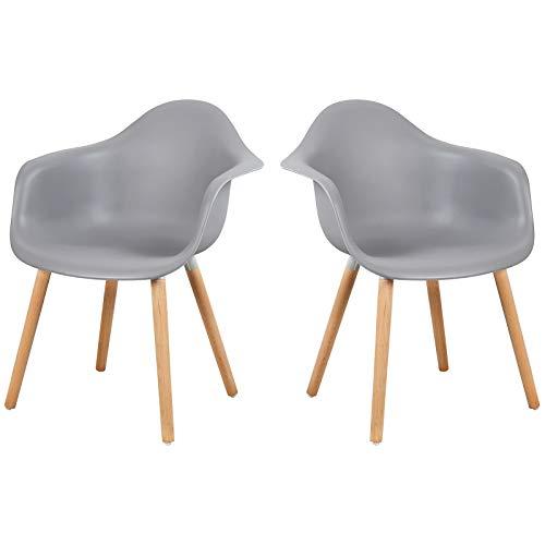 Elightry Esszimmerstühle 2er Set Esszimmerstuhl mit Lehne Design Stuhl Küchenstuhl Holz Grau