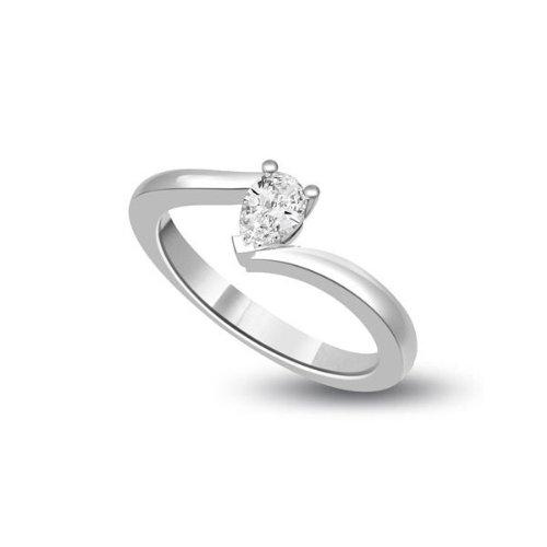 0,60 quilates G/SI1 Anillo solitario de compromiso de diamante para mujer con Pera diamantes en 18k Oro blanco