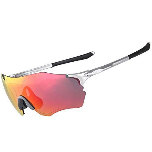 Biback Radsportbrille mit 2 auswechselbaren Lenes Radfahren Laufen Fahren Angeln Golf Baseball