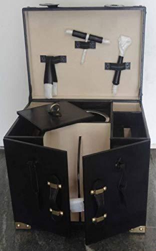 Casa Padrino Luxus Rindsleder Minibar/Kofferbar mit Zubehör Schwarz 41 x 32,5 x H. 37 cm - Luxus Qualität