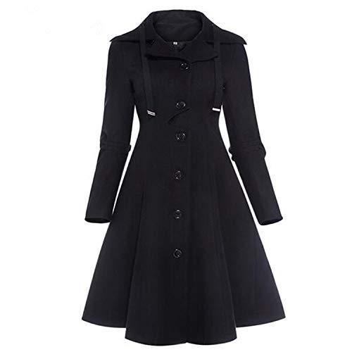 Keamallltd Moda Larga Medieval Trench Coat Mujeres Invierno Negro Stan