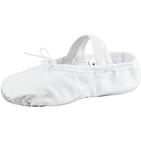 Zapatillas media punta de ballet - Lino, suela partida de cuero - Blanco - Talla: 30