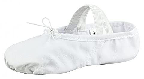 tanzmuster Ballettschuhe / Ballettschläppchen aus Leinen, geteilte Ledersohle, weiß,