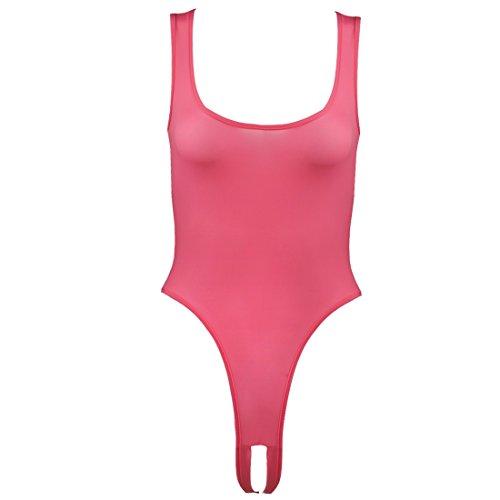 CHICTRY Sexy Body Bodysuit Dessous Damen Tops Overalls Negligee Babydoll Reizwäsche Lingerie Offener Schritt Dunkel Rosa