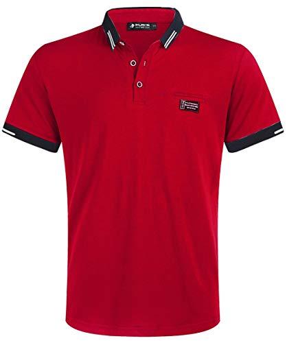 Kuson Herren Shirt Polo Kurzarmshirt Polohemden Baumwolle Sommer T-Shirt Men's Polo Shirt Rot L