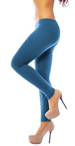 Easy Young Fashion Damen Basic Viscose Jersey Leggings Leggins Lang Uni Einfarbig One Size Jeansblau