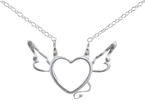 Handgefertigt - Echt 925er Sterling Silber Herz Anhänger Kette Engel / Teufel - (B)engel (Engel Und Teufel Flügel)
