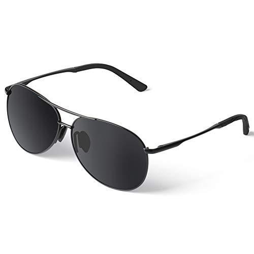 1895 Polarisierte Sonnenbrille für Herren Damen retro Polarisiert Fahrradbrille Aviator Stil Pilotenbrille klassische Fliegerbrille mit Federscharnier UV 400 Schutz Al-Mg Metallrahme Ultra leicht