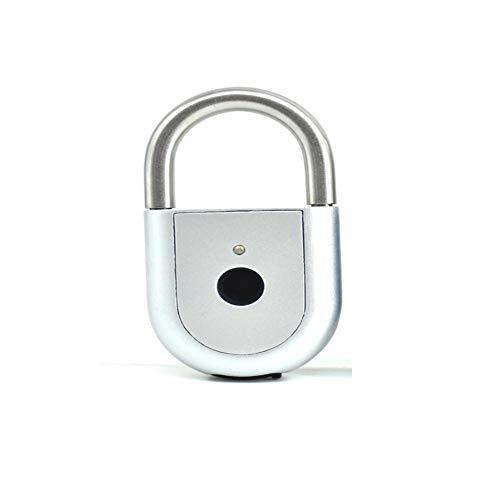Blue-Yan Lorchwise Fingerprint Lock Smart Keyless Vorhängeschloss für Tür Box Tasche wasserdicht und staubdicht USB-Aufladung Silber - Blue Engel Die Box Haben Die