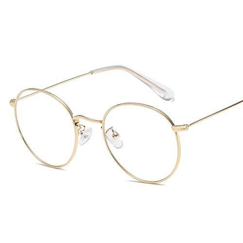 Gläser Mode Retro Brillengestell Runde Rahmen Metall Plain Brille Damen Brillengestell Brillen (Color : 01Gold, Size : Kostenlos)
