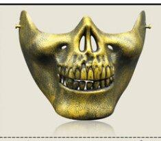 JERKKY Airsoft Schädel Maske halbe Gesicht DEV Neuheit Motorrad Masquerade Halloween Masquerade Party Gold