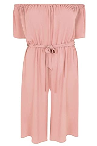 Womens Limited Collection Bardot Culotte Jumpsuit With Waist Tie, Plus Size 16 T Size 20 Pink