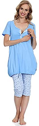 Be Mammy Damen Stillpyjama BE20-128 (Blau/Hellblau, S)