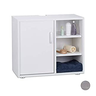Relaxdays Mueble Lavabo con Pie y 3 Compartimentos, DM, 51 x 60 x 32 cm