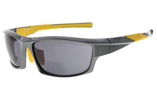 Eyekepper TR90 Sport Bifokale Sonnenbrille Baseball Laufen Angeln Fahren Golf Softball Wandern Leser (Perliges Grau, 2.00) -