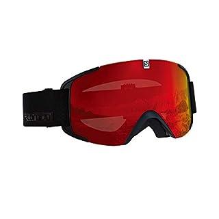 Salomon Unisex Xview Skibrille, für verschiedenste Wetterverhältnisse, rote Multilayer-Scheibe (auswechselbar), Airflow System, schwarz, L40518900