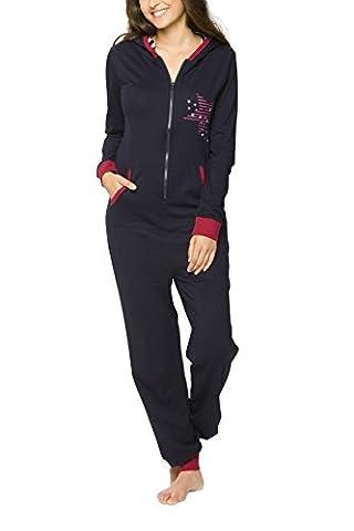 maluuna - Damen Jumpsuit mit Bündchen an Arm- und Beinabschluss, Farbe:navy, Größe:36/38