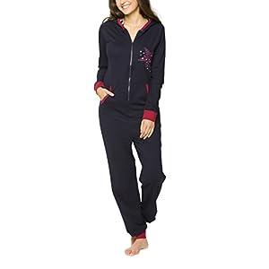 maluuna - Damen Jumpsuit, Onesie, Overall, Einteiler mit Bündchen an Arm- und Beinabschluss aus 100% Baumwolle