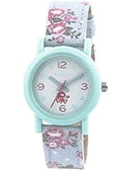 Tikkers Kinder Quarz-Uhr mit weißem Zifferblatt Analog-Anzeige und Blau Silikon Riemen tk0104